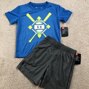 Boys size 4 under armour outfit NWT